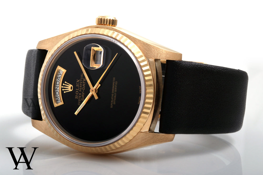 "Rolex 18k Yellow Gold Day Date 18038 Custom Black ""Onyx"" Dial Leather Strap"