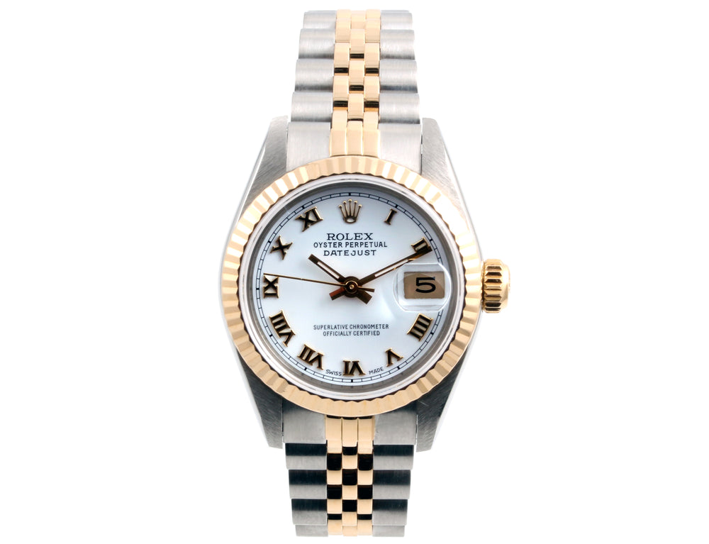Rolex Ladies Datejust 26mm 69173 White Roman Dial Jubilee Band