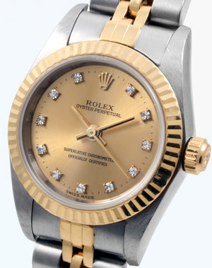Rolex Two Tone Ladies Oyster Perpetual 24mm Champagne Diamond Dial