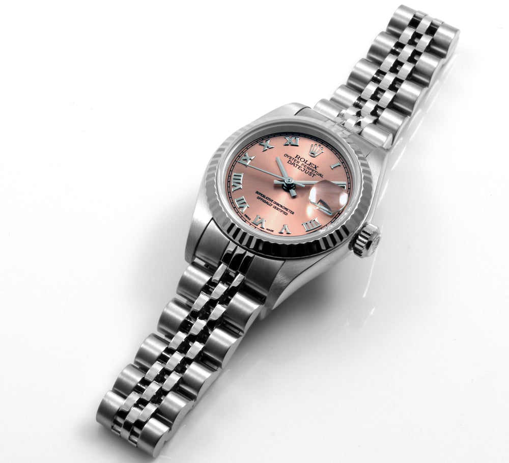 Rolex Ladies Steel Datejust Salmon Roman Dial Jubilee Band
