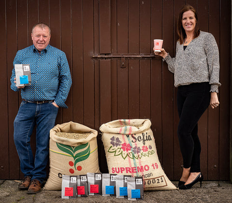 Pictured at their Co Down Roasters, BRÓ Coffee founders Brenda & Michael Johnston launch BRÓ at Home www.brocoffee.co.uk Ireland's first coffee company to offer fully compostable packaging.
