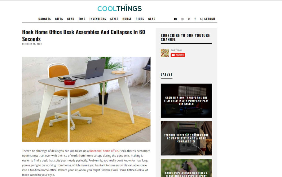 Hoek Has Been Featured by CoolThings!