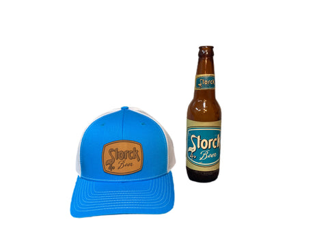 Cyan and White Storck Brewing Beer Hat