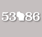 53086 Zip Code Decal White
