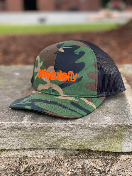 Schedulefly Trucker Hat (Camo w/ Black Mesh)