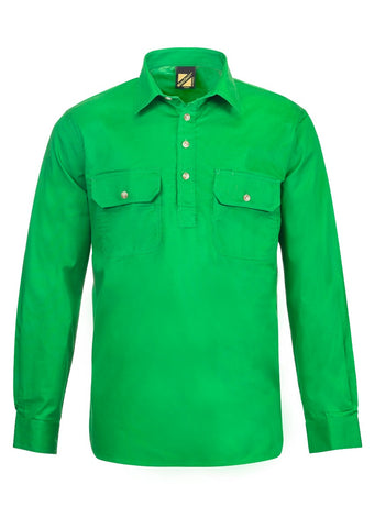 Mens Workcraft Half Button Light Weight Shirts