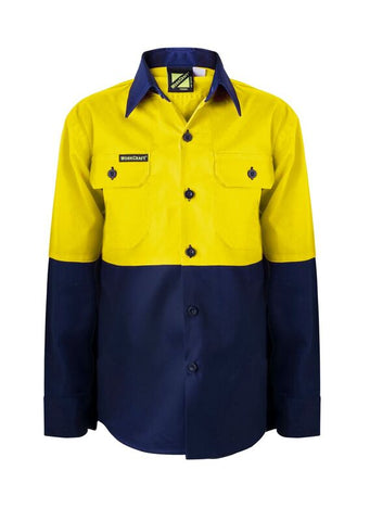 Kids Workcraft Hivis Long Slv Shirt