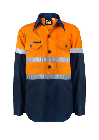 Kids Workcraft Hivis Taped Long Slv Shirt