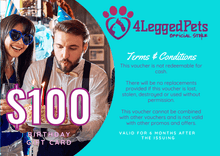 Load image into Gallery viewer, 4LEGGEDPETS Birthday Card $100