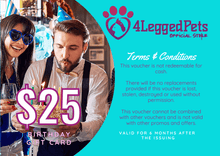 Load image into Gallery viewer, 4LEGGEDPETS Birthday Card $25