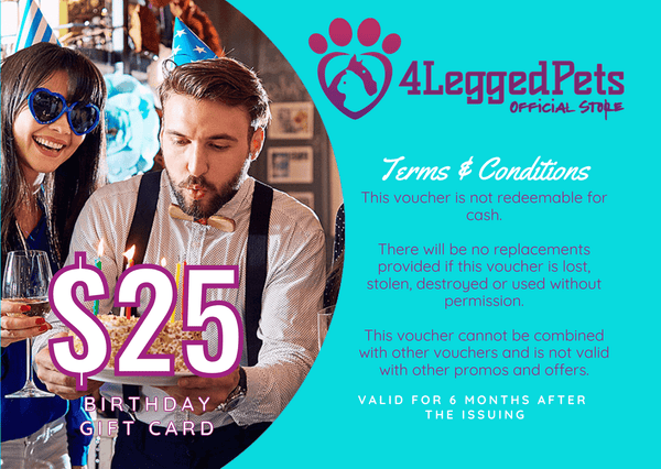 4LEGGEDPETS Birthday Card $25