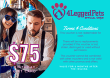 Load image into Gallery viewer, 4LEGGEDPETS Birthday Card $75