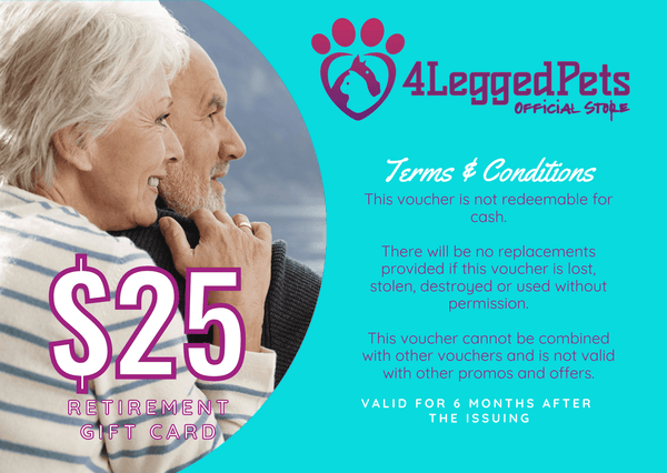 4LEGGEDPETS Retirement Card $25