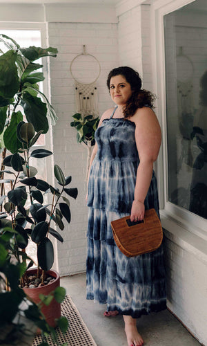 Blue tie-dye dress full length plus size