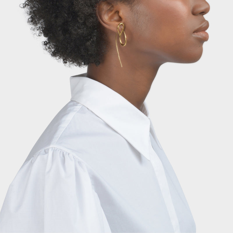 Needle Mono Earring in Vermeil