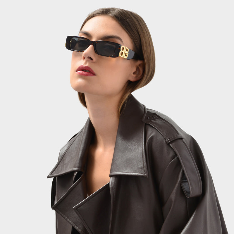 Squared Shaped Sunglasses in Havana Brown