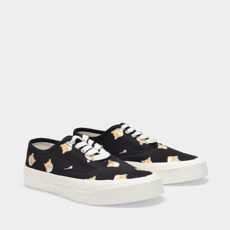 Sneakers in White Canvas with Fox Print