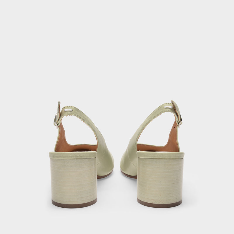 Tabi Pumps in Pistachio Green Leather