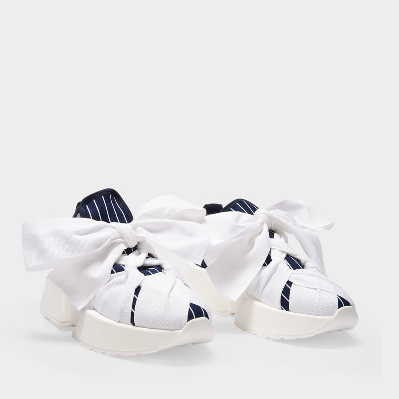 True Blue Sneakers in White Canvas