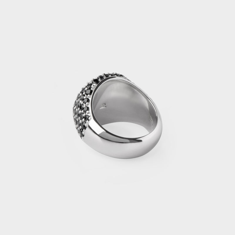 Oval Coktail Black Ring