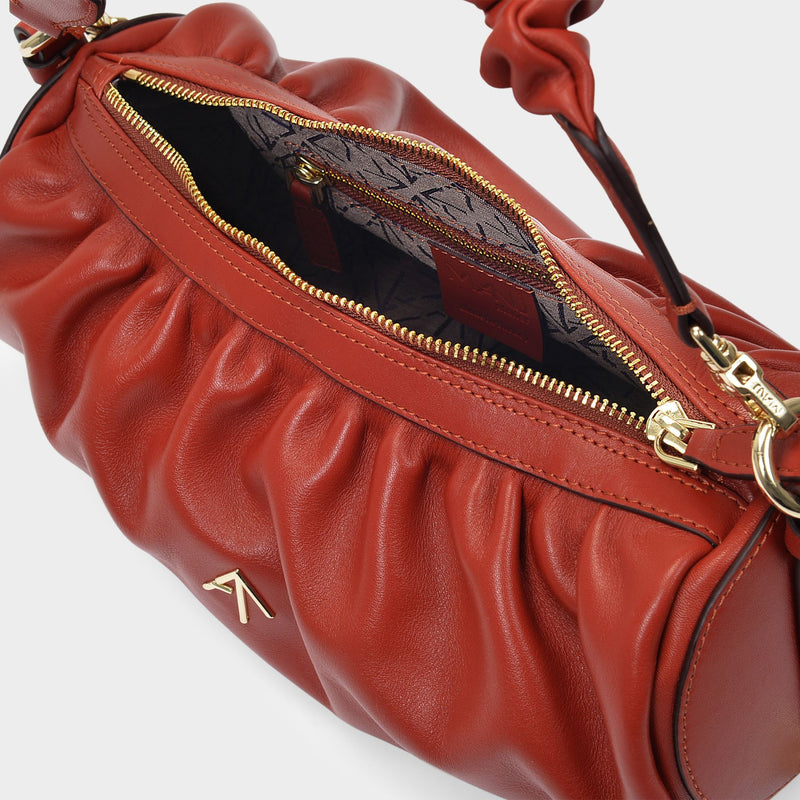 Shoulder Bag Ruched Cylinder in Redbole Leather