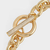 Pave T-bar Chain Bracelet in 16K Gold Plated Brass and Cubic Zircornia