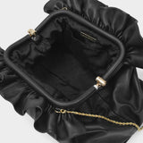 Loretta Clutch in Black Leather