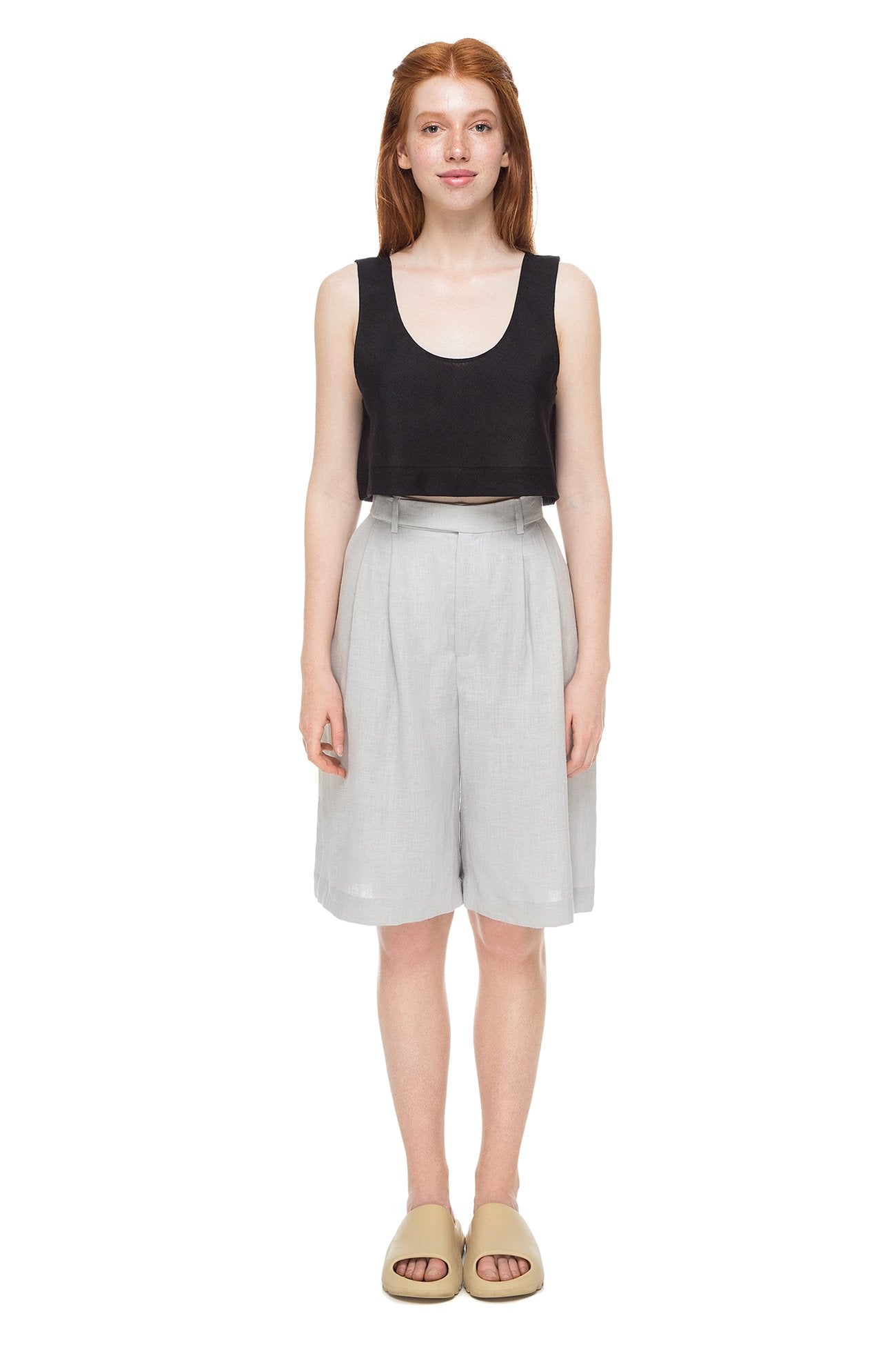Light gray shorts with tucks