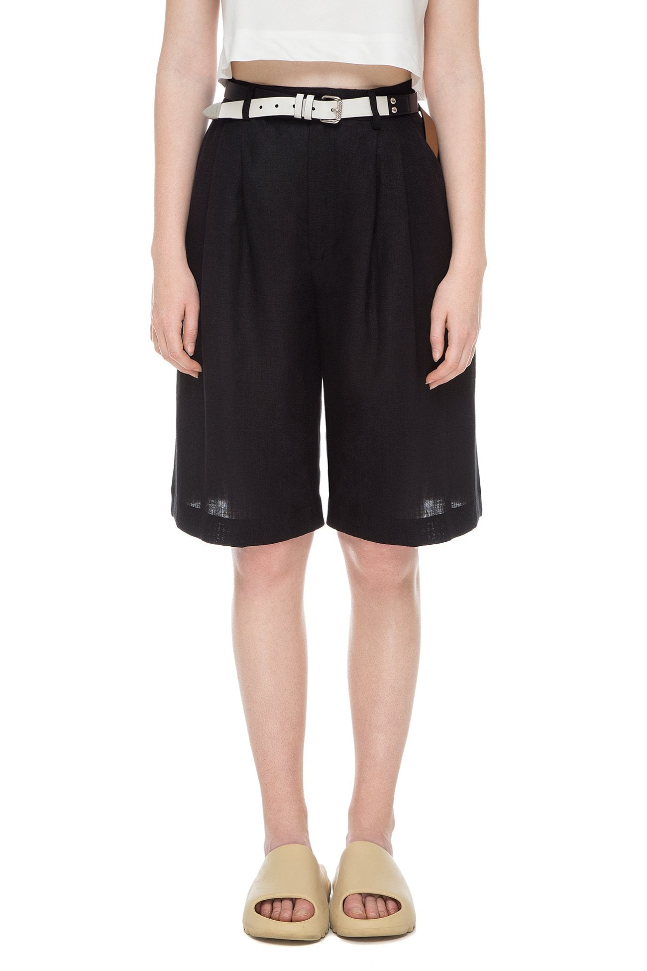 Black shorts with tucks
