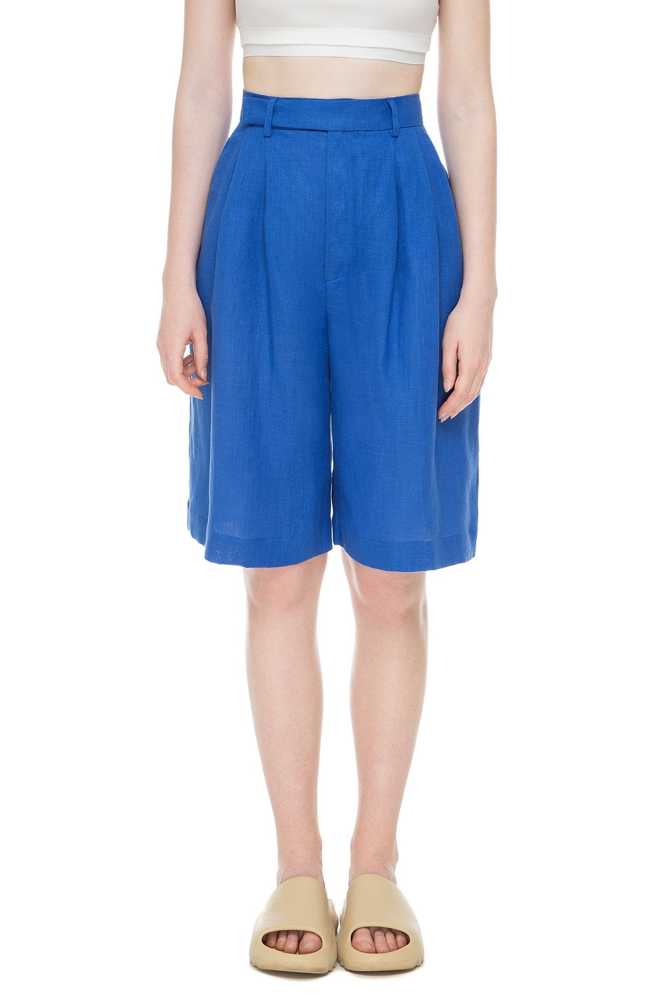 Electric blue shorts with tucks