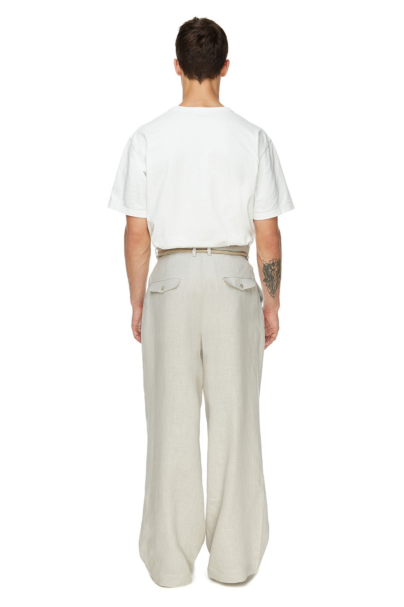 Light gray pants with tucks