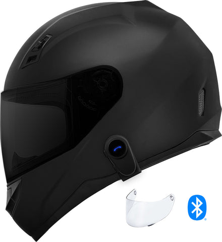 GDM Ghost Mark II Motorcycle Bluetooth Helmet Matte Black