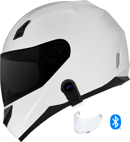 GDM Ghost Mark II Motorcycle Bluetooth Helmet Gloss White