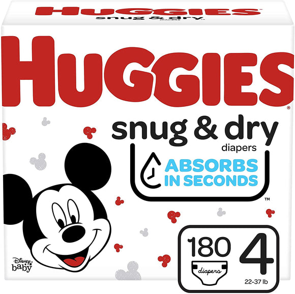 HUGGIES Snug & Dry Baby Diapers, Size 4, One Month Supply, White, Size 4 (180 Count)
