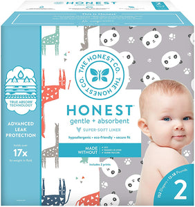 The Honest Company Super Club Box Diapers with TrueAbsorb Technology, Size 2, 152 Count