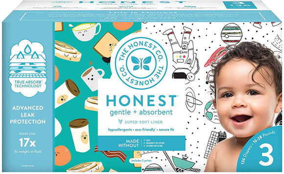 The Honest Company Super Club Box Diapers with TrueAbsorb Technology, Size 3, 136 Count
