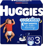 Huggies Overnites Nighttime Diapers, Size 3, 80 Ct