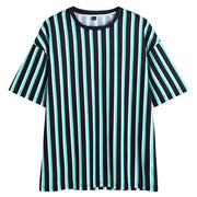 Striped Navy Blue Half-Sleeve T Shirt