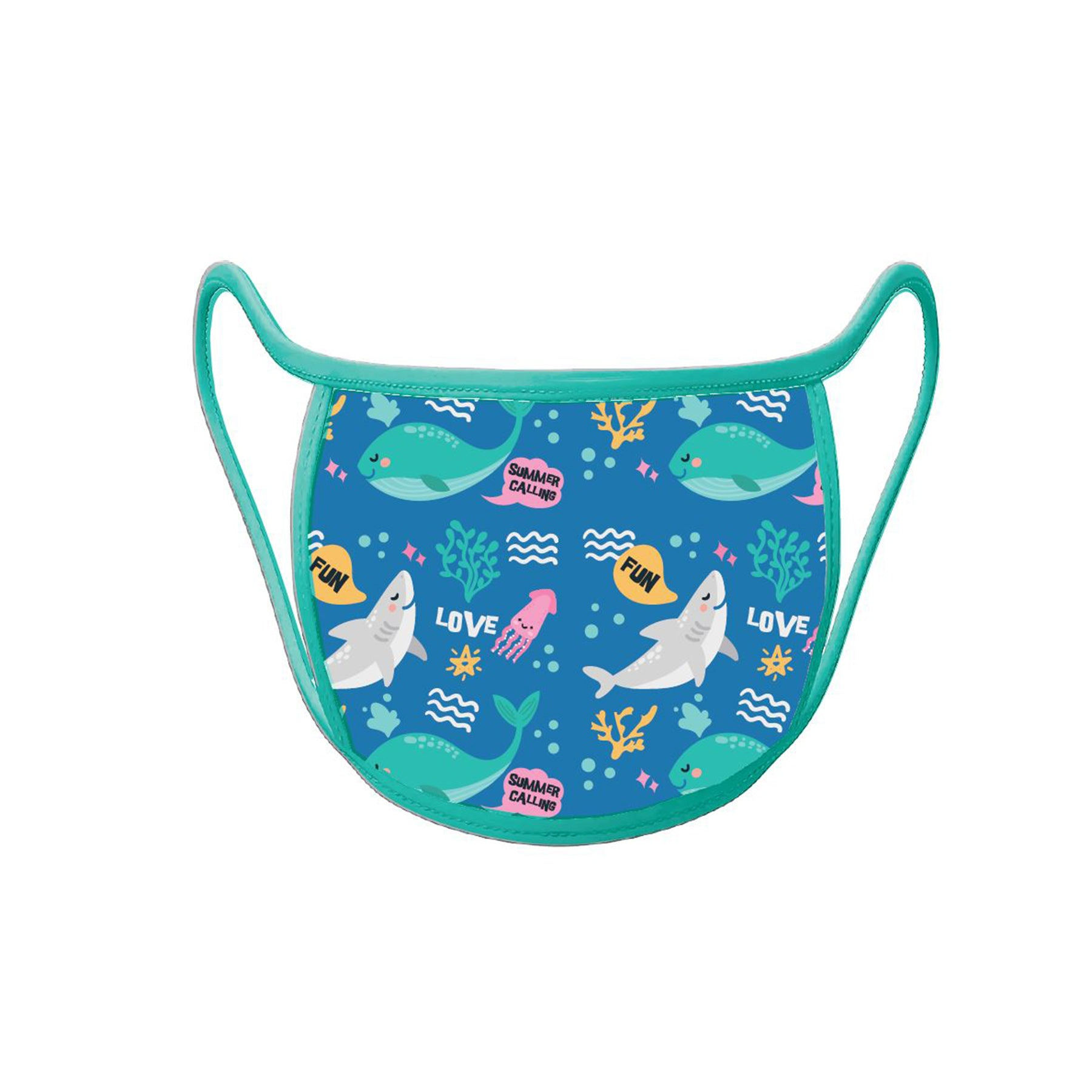 Re-useable Handmade Cloth Face Covering Cute sharks Ocean design