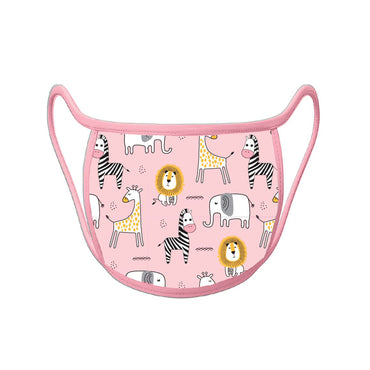 Re-useable Handmade Cloth Face Covering Pink Zoo Design