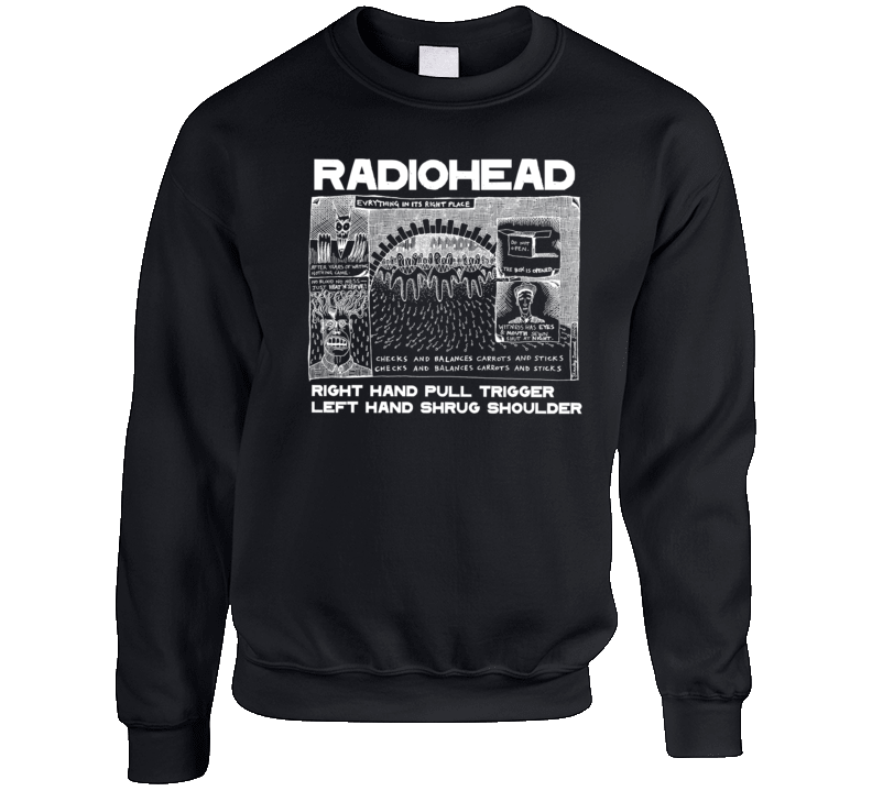 Everything In It's Right Place Radiohead Black Crewneck Sweatshirt