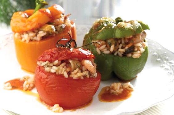 Gemista (stuffed peppers and tomatoes)