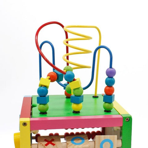 8 x 8 Inch Wooden Learning Bead Maze Cube 5 in 1 Activity Center