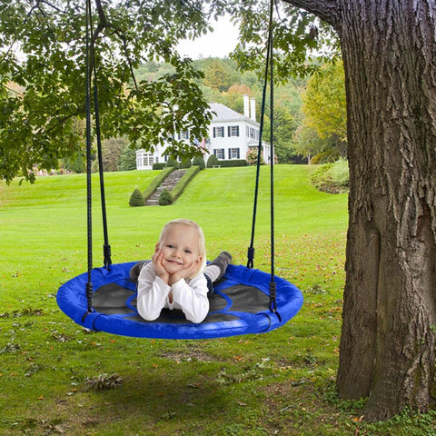 "Image of 40"" Kids Outdoor Round Net Hanging Rope Nest Tree Swing"