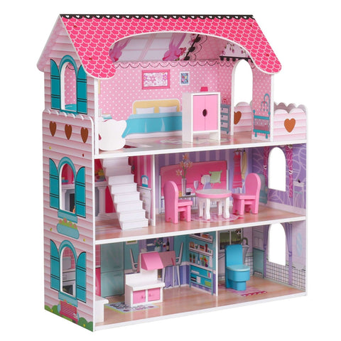 Pink Wooden Dollhouse with Furniture