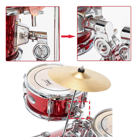 Image of Red or Blue 16in 5-Piece Complete Kids Junior Drum Set