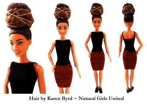 High Afro Puff Doll w/ Braided Decorative Bun by Natural Girls United
