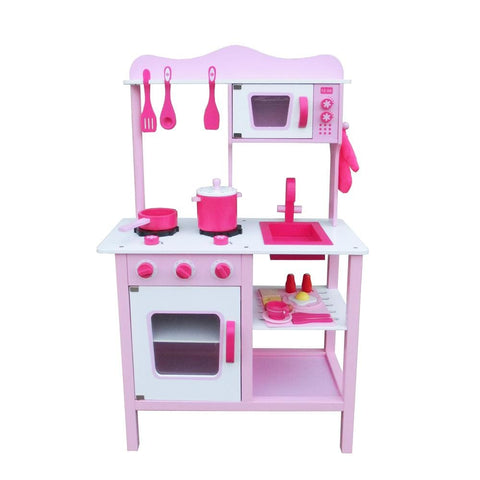 Kids Pretend Play Wooden Kitchen for Cooking Food