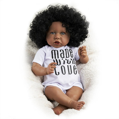 Image of RBG Reborn Baby Doll 22 Inches Lifelike Newborn Sweet Afro Baby Vinyl Reborn Doll