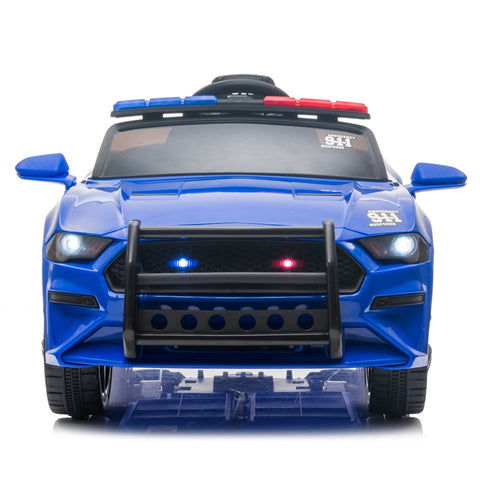 Image of 12V Kids Ride On Car, Police sports car-Remote Control Blue